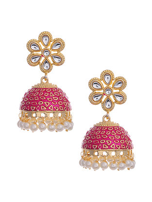 Pink Gold Tone Enameled Earrings with Pearls