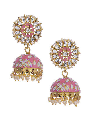 Pink Gold Tone Enameled Kundan Earrings with Pearls