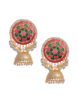 Pink Green Gold Tone Enameled Earrings with Pearls