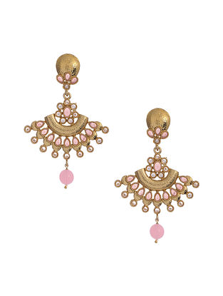 Pink Gold Tone Handcrafted Earrings