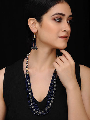 Blue Gold Tone Mercasite Necklace with Earrings (Set of 2)