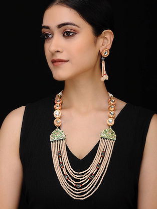 Multicolored Gold Tone Kundan and Mercasite Necklace with Earrings (Set of 2)