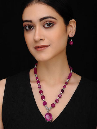 Pink Silver Tone Necklace with Earrings (Set of 2)
