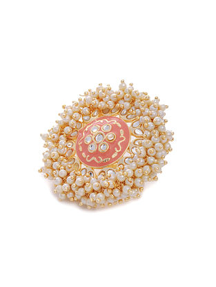 Peach Gold Tone Enameled Ring with Pearls