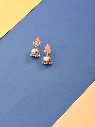 Peach Gold Tone Handcrafted Earrings with Pearls