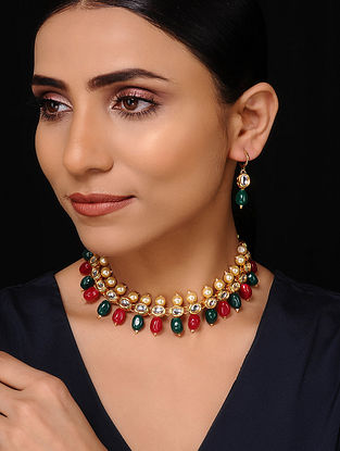 Red Green Gold Tone Kundan Necklace with Earrings (Set of 2)