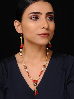 Red Gold Tone Beaded Necklace with Earrings (Set of 2)