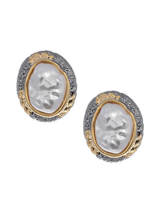 Dual Tone Handcrafted Earrings with Pearls