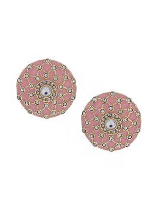 Pink Gold Tone Enameled Earrings