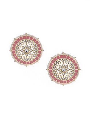 Pink Gold Tone Enameled Beaded Earrings