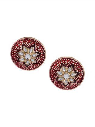 Red Gold Tone Kundan Enameled Earrings