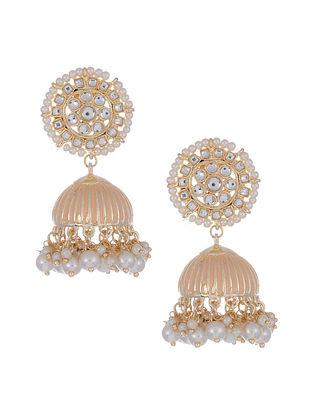 Peach Gold Tone Enameled Jhumki Earrings