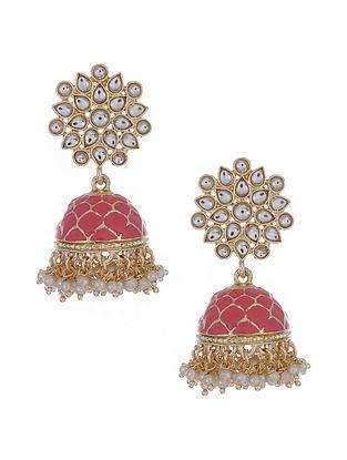 Pink Gold Tone Enameled Jhumki Earrings