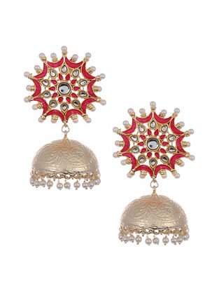 Pink Gold Tone Handcrafted Jhumki Earrings with Pearls