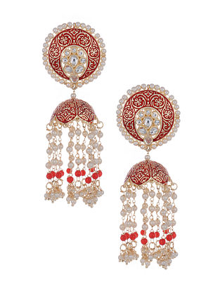 Red Gold Tone Beaded Jhumki Earrings