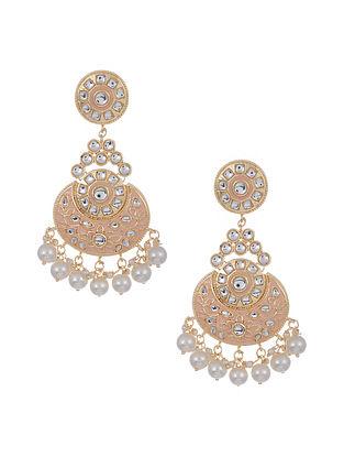 Peach Gold Tone Enameled Earrings