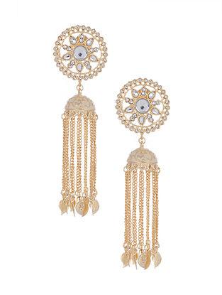 Cream Gold Tone Enameled Jhumki Earrings