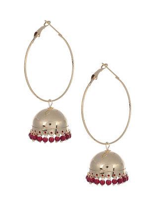 Red Gold Tone Jhumki Earrings