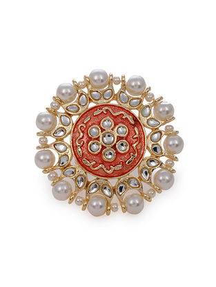 Red Gold Tone Kundan Enameled Ring