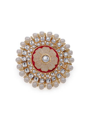 Red Cream Gold Tone Enameled Ring with Pearls