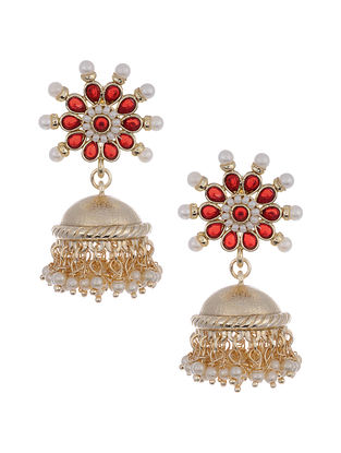 Red Gold Tone Jhumki Earrings with Pearls