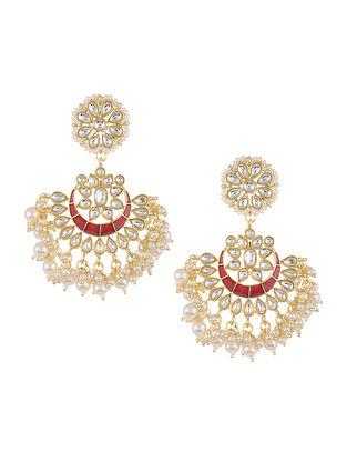Maroon Gold Tone Kundan Inspired Earrings with Pearls