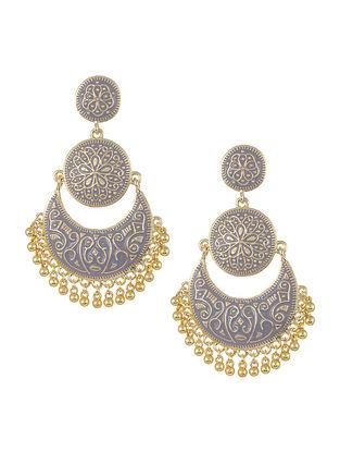 Grey Gold Tone Enameled Chandbali Earrings