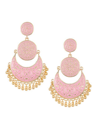 Pink Gold Tone Enameled Chandbali Earrings