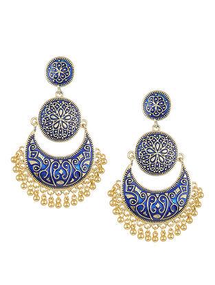 Blue Gold Tone Enameled Chandbali Earrings