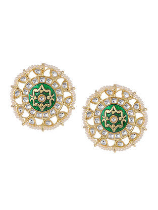 Green Gold Tone Kundan Enameled Beaded Earrings