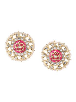 Pink Gold Tone Kundan Enameled Beaded Earrings