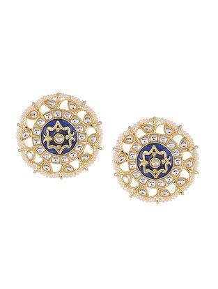 Blue Gold Tone Kundan Enameled Beaded Earrings