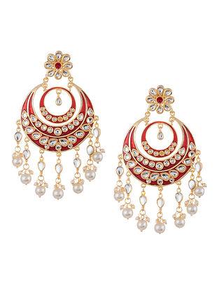 Maroon Gold Tone Kundan Enameled Chandbali Earrings with Pearls