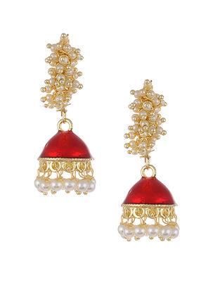 Red Gold Tone Pearl Beaded Jhumki Earrings