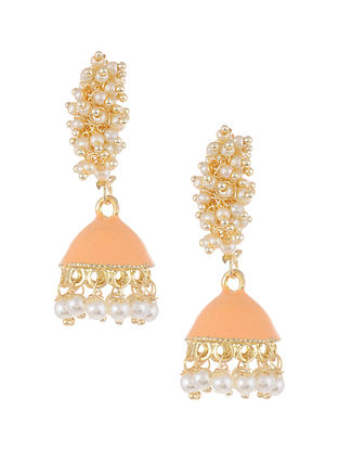 Peach Gold Tone Pearl Beaded Jhumki Earrings