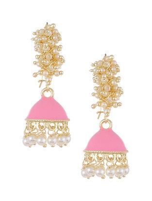 Pink Gold Tone Pearl Beaded Jhumki Earrings