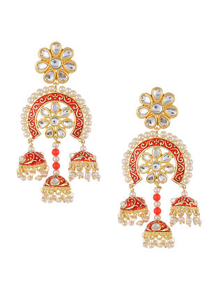 Red Gold Tone Kundan Inspired Jhumki Earrings with Pearls