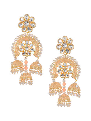 Peach Gold Tone Kundan Inspired Jhumki Earrings with Pearls