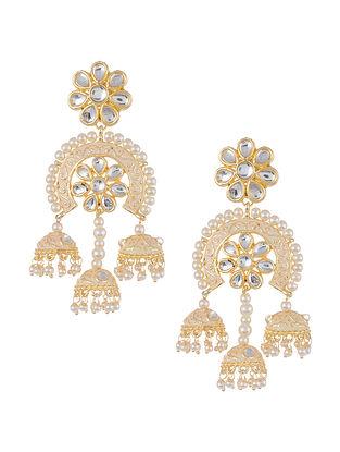Cream Gold Tone Kundan Inspired Jhumki Earrings with Pearls