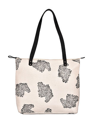 White-Black Hand Woven and Hand Printed Cotton Tote Bag