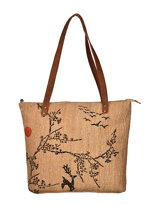Brown-Black Hand Woven and Hand Printed Tussar Silk Tote Bag