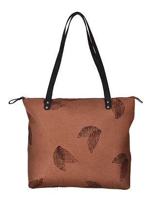 Brown-Black Hand Woven and Hand Printed Cotton Tote Bag