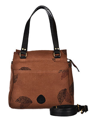 Brown-Black Hand Woven and Hand Printed Cotton Hand Bag