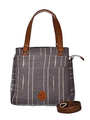 Grey-Brown Hand Woven and Hand Printed Cotton Hand Bag