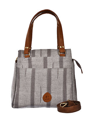 Grey-Brown Hand Woven and Hand Printed Cotton Hand Bag