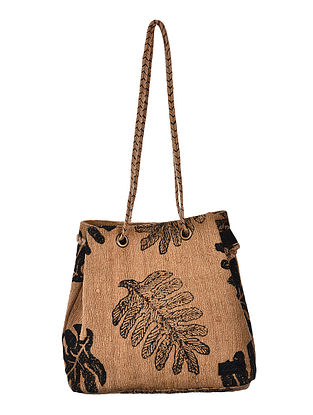 Beige-Black Hand Woven and Hand Printed Tussar Silk Hand Bag