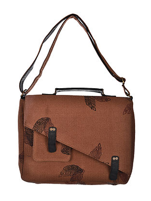 Brown-Black Hand Woven and Hand Printed Cotton Sling Bag
