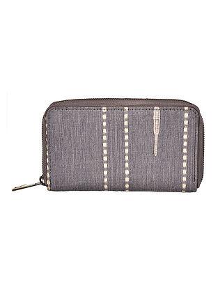 Grey Hand Woven Cotton Wallet