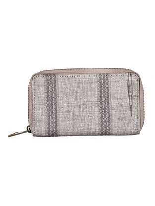 Grey-White Hand Woven Cotton Wallet