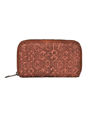 Brown-Black Hand Woven and Hand Printed Cotton Wallet